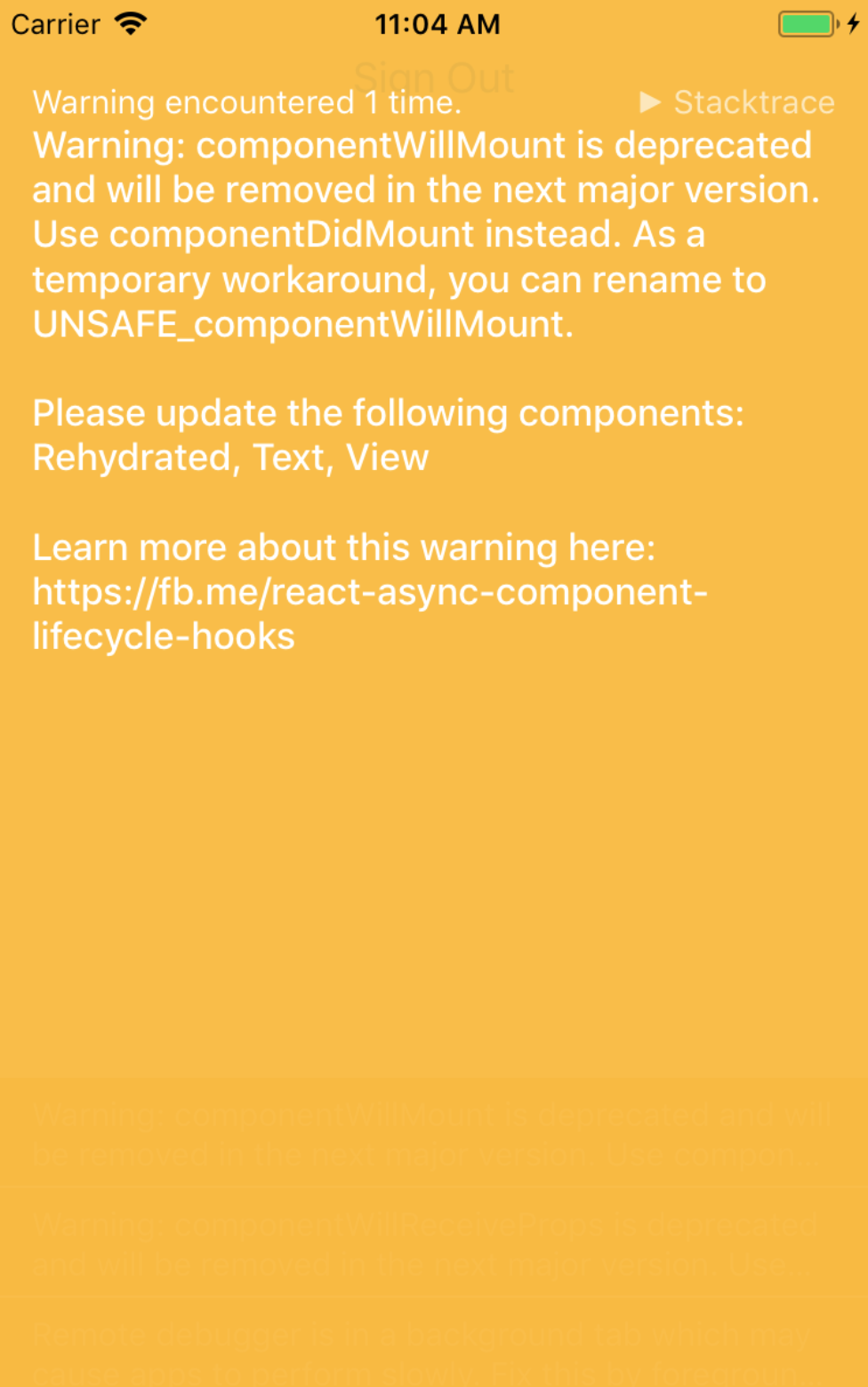 Warning componentwillmount is Deprecated and will be Removed in the Next Major Version in React Native Solved