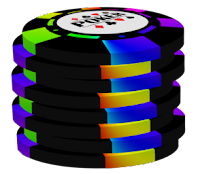 colored on black poker chip stack