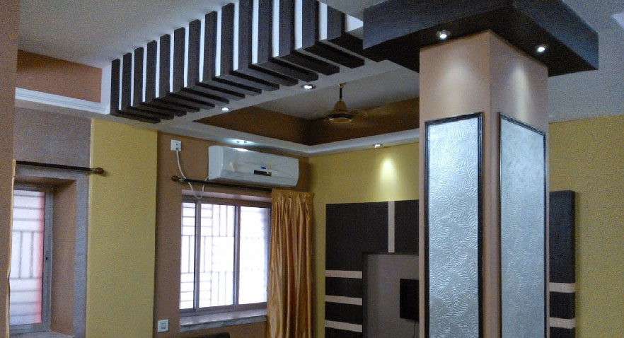 Anmol decore kolkata false ceiling idea home design for Small house design in kolkata