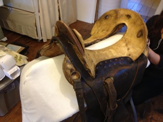 McClellan saddle, 19th century military, art conservation treatment, object, leather, custom made museum mount