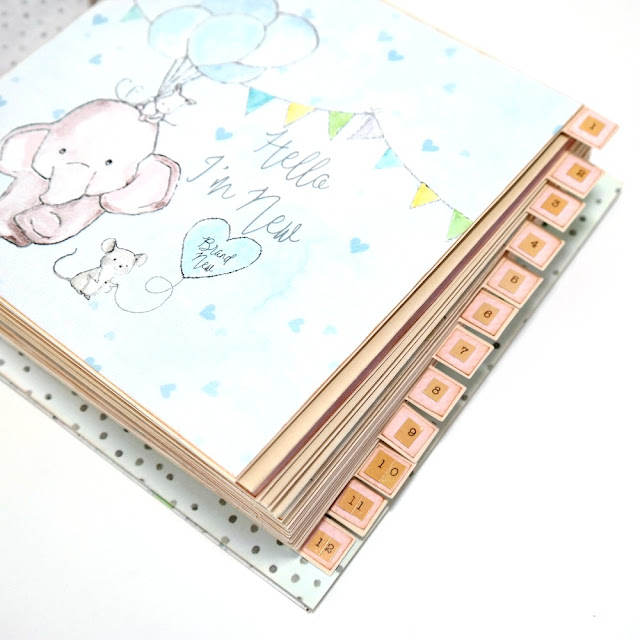 Monthly Calendar Baby Album Tabbed Dividers by Dana Tatar for FabScraps
