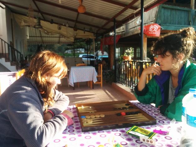 Enjoying a game of backgammon