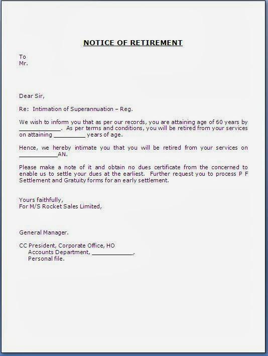 Announcement Letters Sample Letters Subulussalam – Retirement Letters