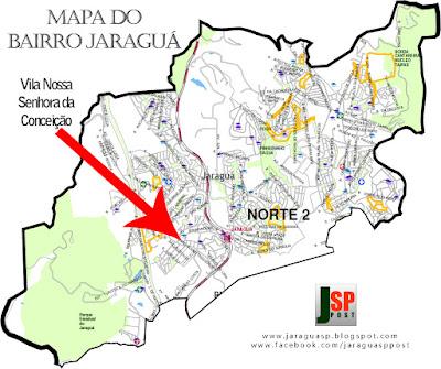 Posição da Vila Nossa Senhora da Conceição dentro do bairro Jaraguá