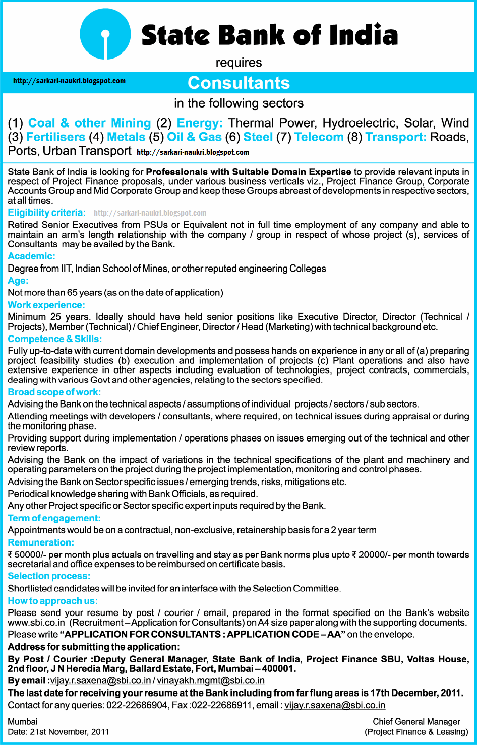 State Bank Of India Sbi Recruitment 2011 Various