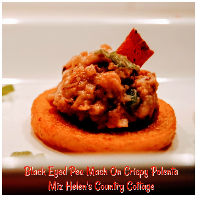 Black Eyed Pea Mash On Crispy Polenta at Miz Helen's Country Cottage