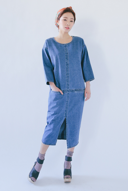 Paneled Denim Dress