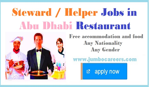 Hotel jobs in Abu Dhabi, Restaurant jobs with food and accommodation,