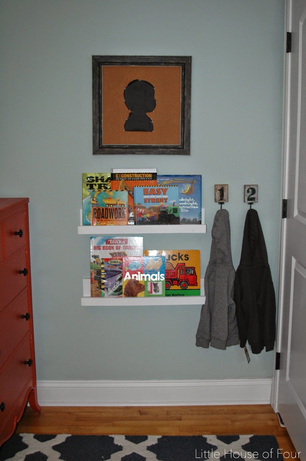 Navy and orange little boy's room