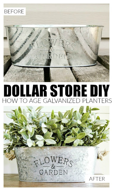 How to age Dollar Tree Metal Planters