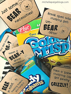 College care package with a bear theme and printable tags @michellepaigeblogs.com