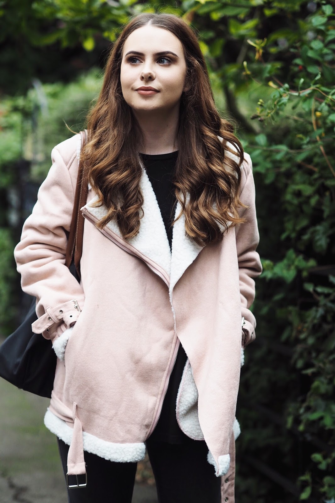 Autumn winter blush pink aviator jacket faux shearling Lasula