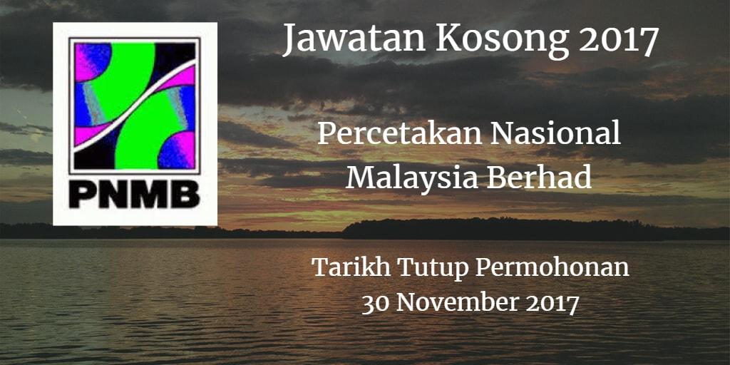 Jawatan Kosong PNMB 30 November 2017
