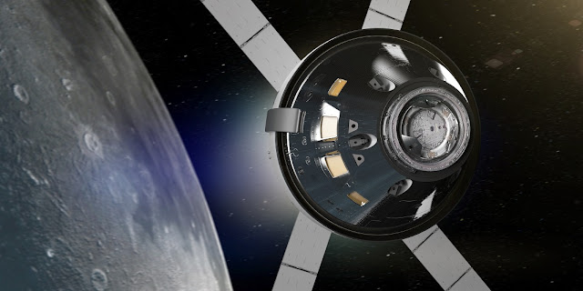 Artist's rendering of NASA's Orion spacecraft in lunar orbit. Image Credit: NASA.