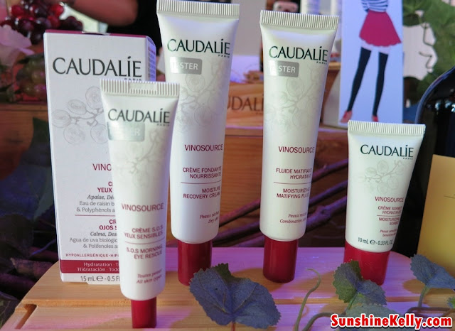 Caudalie Vinosource S.O.S Eye Morning Rescue, Moisture Recovery Cream, Moisturizing Matifying Fluid, Moisturizing Sorbet