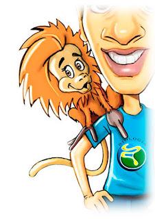 caricatura de mico leão dourado