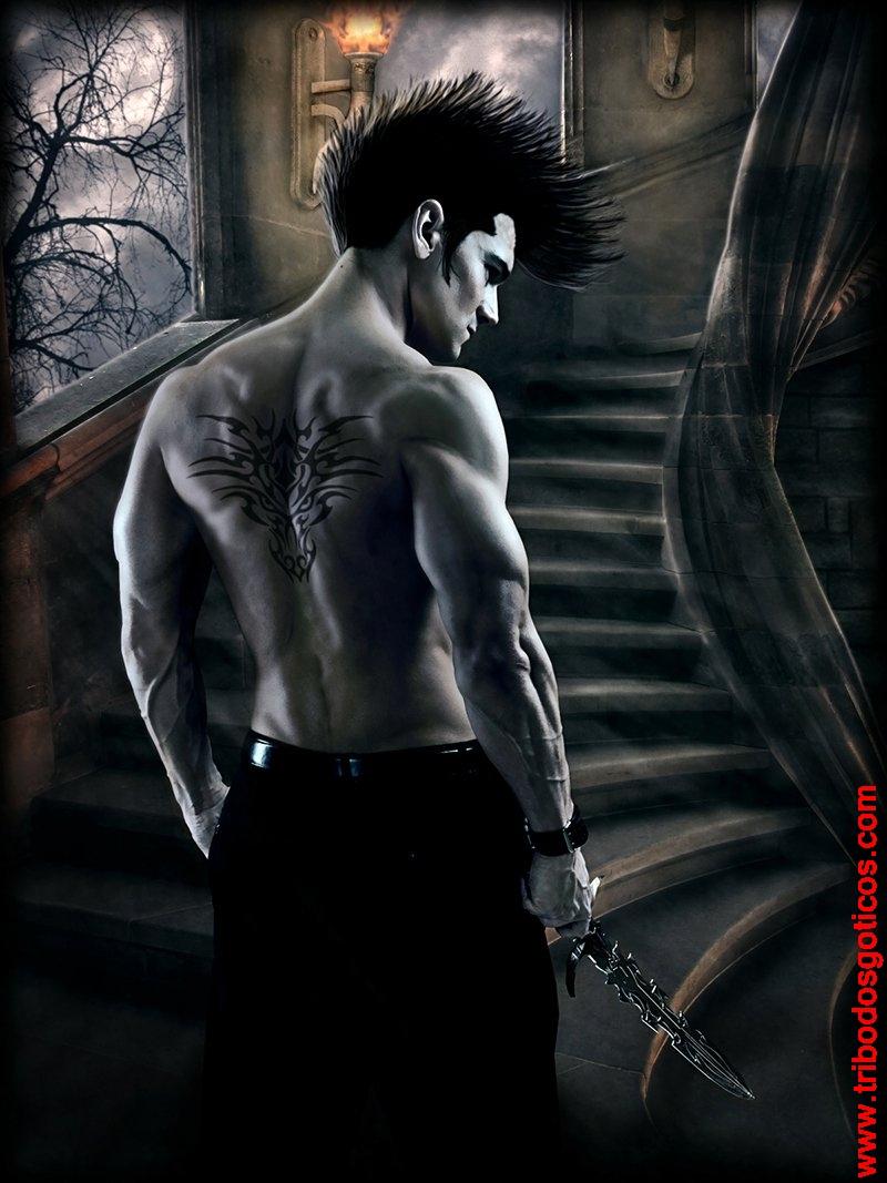 tatuagem nas costas metaleiro rock homem sombrio mal