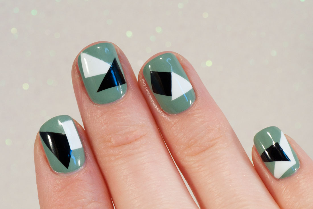 Geometric Black and White Nail Art