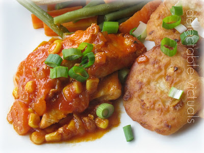 Chicken in Piquant Sauce with Savory Corn Cakes