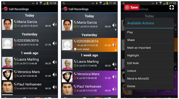 Galaxy Call Recorder Application