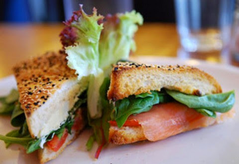 Smoked Salmon Sandwich with Cream Cheese and Spinach