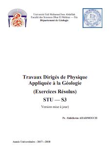 TD, Exercice corrigée de PHYSIQUE APPLIQUÉE À LA GÉOLOGIE STU S3