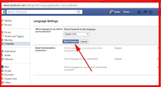 can you change language on facebook