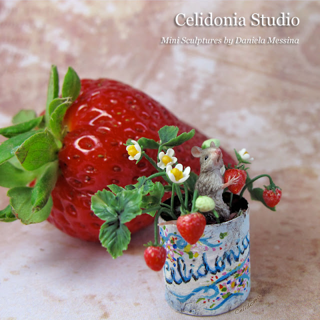 Strawberry Mouse - OOAK Miniature sculpted from Polymer Clay