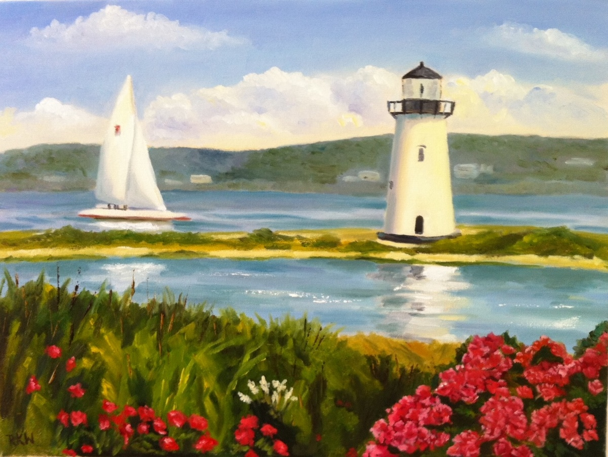 RKW Art Edgartown Lighthouse And Sailboat