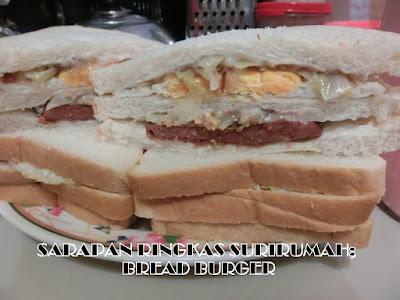 Sarapan ringkas; Bread Burger bersama Susu Strawberry