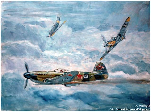 Pintura al oleo de la piloto rusa apodada la Rosa blanca de Stalingrado 4