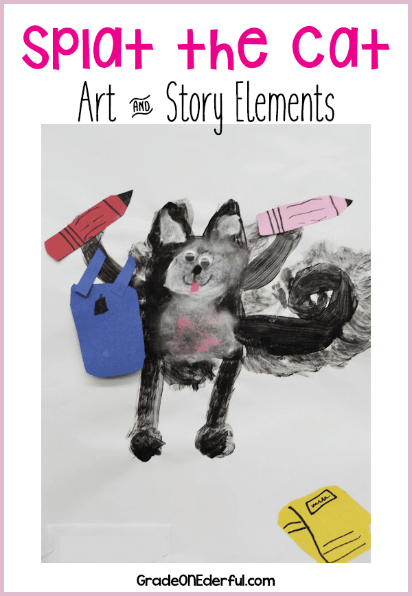 Splat the Cat Art and free 10-page story elements pdf. #splatthecat #cats #artforkids #gradeonederful #storyelements