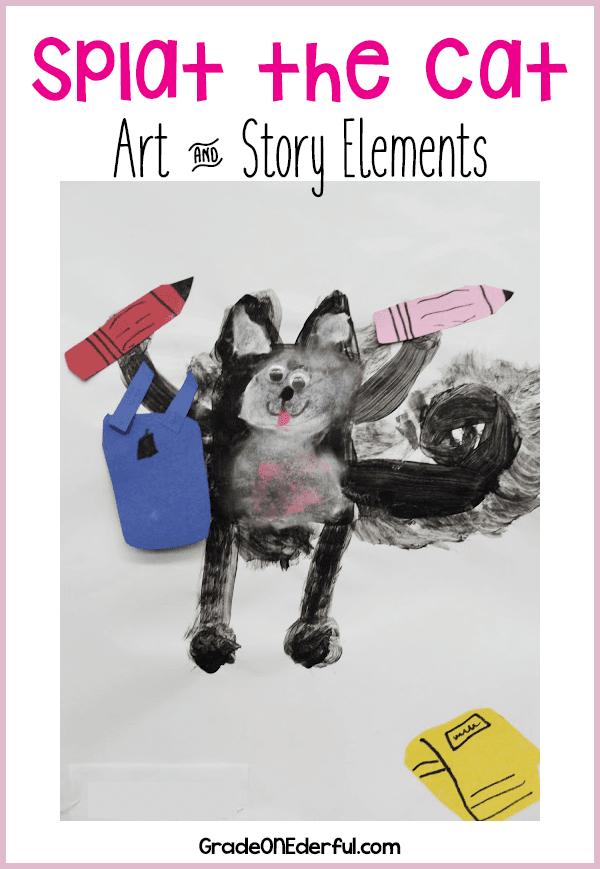 Splat the Cat Art and free 10-page story elements pdf. #splatthecat #cats #artforkids #gradeonederful #storyelements