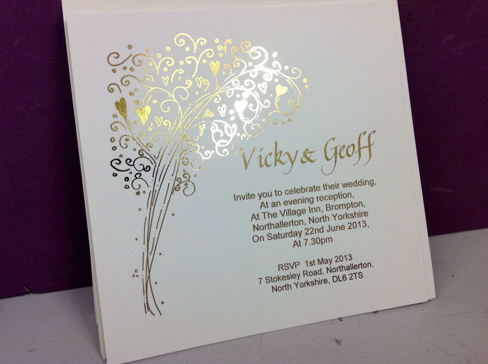 Personalised Wedding Evening Invitations: Inspired By Script: Vicky & Geoff