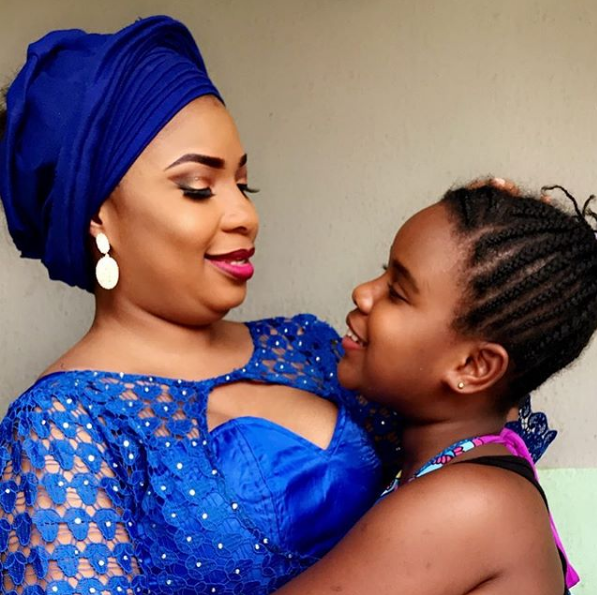 Adorable photo of Laide Bakare and daughter