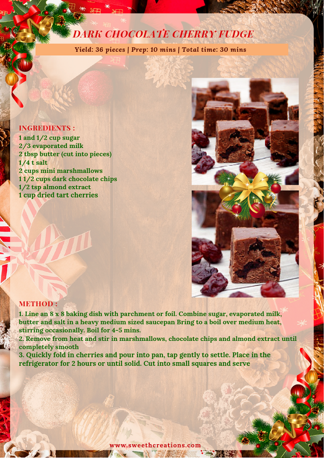 DARK CHOCOLATE CHERRY FUDGE RECIPE