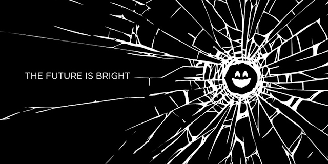 the future is bright with black mirror tv series logo