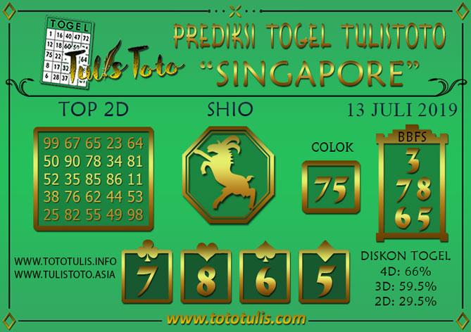 Prediksi Togel SINGAPORE TULISTOTO 13 JULI 2019