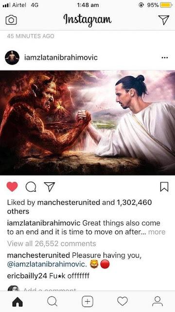 Eric Bailly menghina Zlatan Ibrahimovic   di Instagram