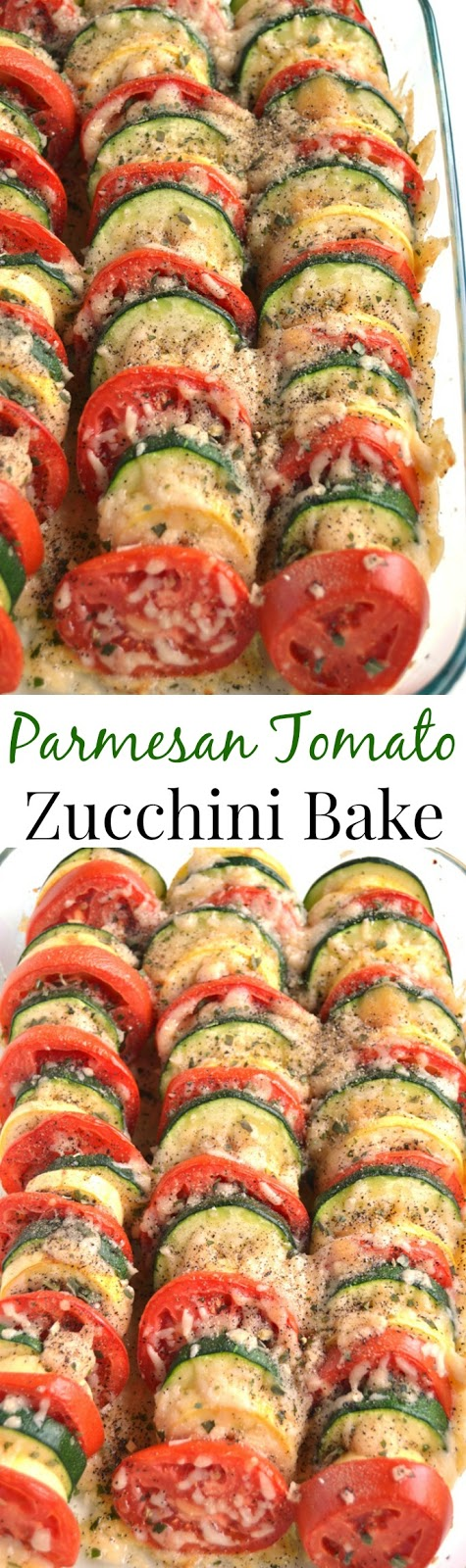 Parmesan Tomato Zucchini Bake is a simple recipe with layered fresh tomatoes, zucchini and summer squash topped with garlic, onions and parmesan cheese! www.nutritionistreviews.com #zucchini #tomato #tomatoes #summer #sidedish #vegetable #vegetables #cleaneating #healthy #parmesan