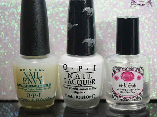 O.P.I Original Nail Envy, O.P.I Angel With A Lead Foot, Glistn & Glow HK Girl Fast Drying Top Coat