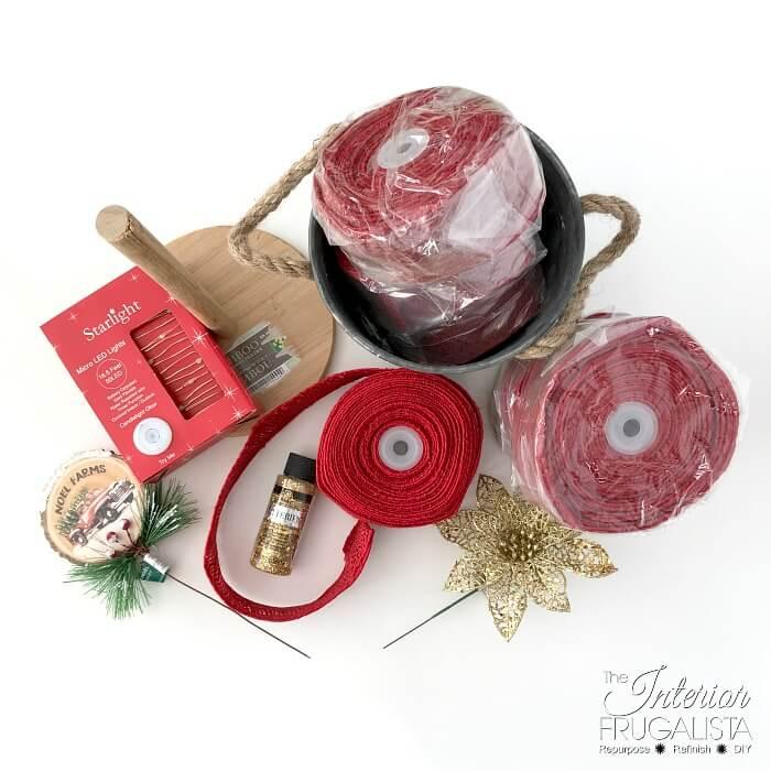 Red Burlap Ribbon Christmas Tree Supplies