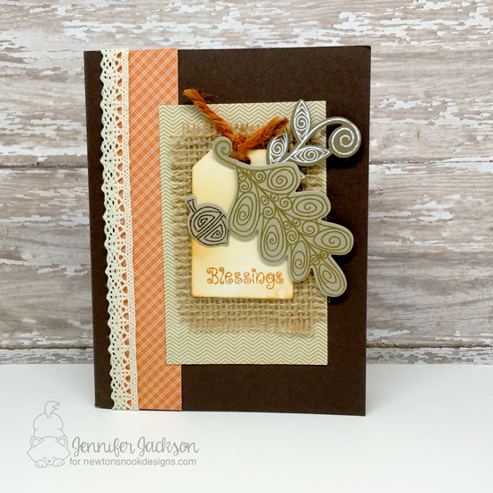 Fall leaves with Burlap Card by Jennifer Jackson | InkyPaws Challenge | Beautiful Leaves stamp set by Newton's Nook Designs #newtonsnook