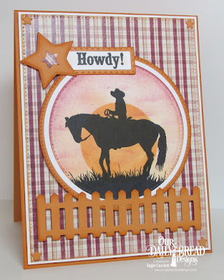 ODBD Howdy, ODBD Rustic Beauty Paper Collection, ODBD Custom Fence Die, ODBD Custom Pierced Rectangles Dies, ODBD Custom Double Stitched Rectangles Dies, ODBD Custom Rectangles Dies, ODBD Custom Pierced Circles Dies, ODBD Custom Circles Dies, ODBD Custom Sparkling Stars Dies, Card Designer Angie Crockett