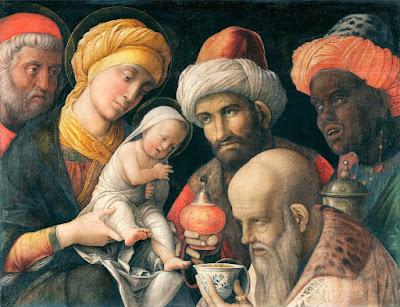 les mages devant l'enfant Jésus