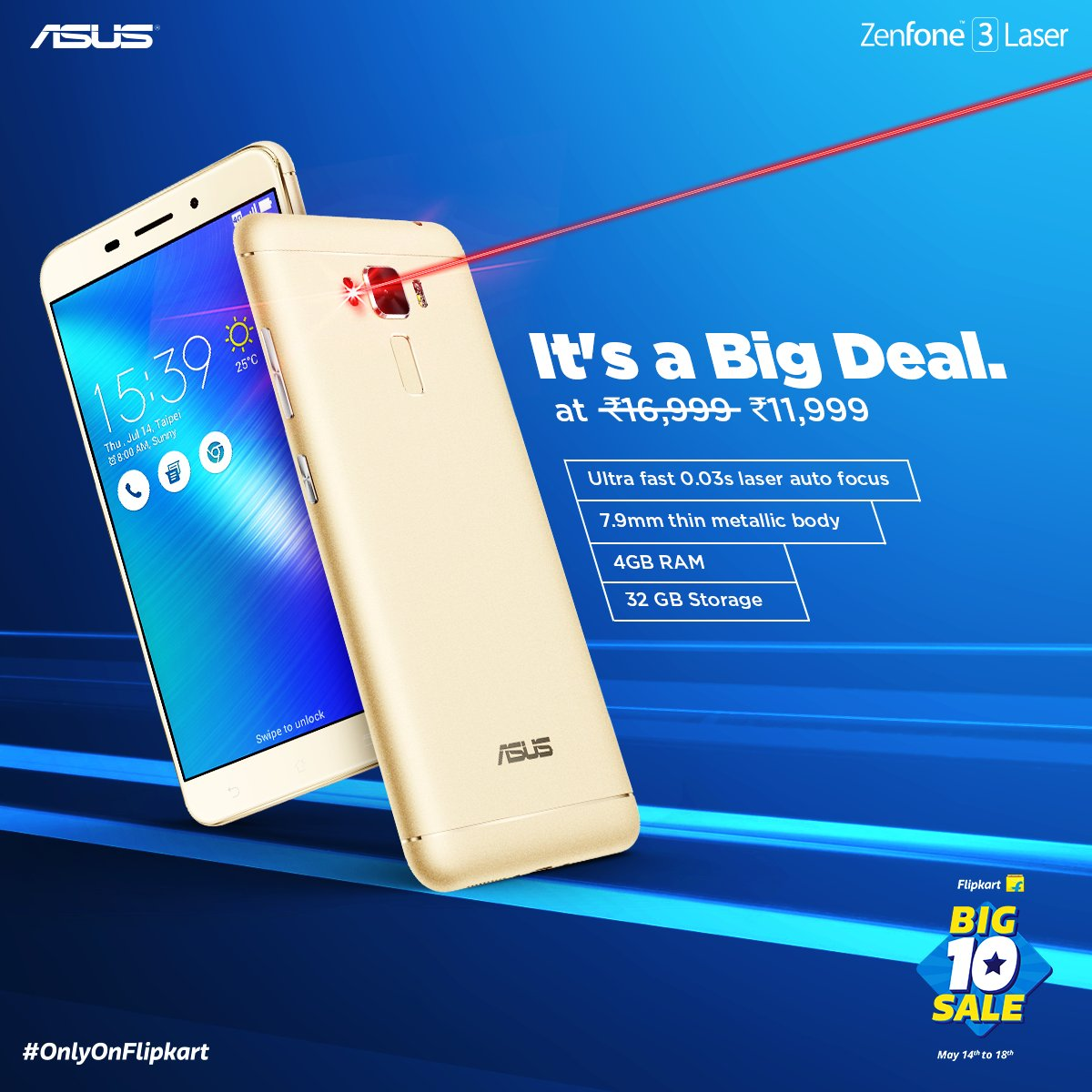 d87c2aea9 Asus Zenfone 3 Laser 4GB 32GB Only Rs 11999 - 40% OFF - Freebie ...