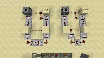 Minecraft アイテムエレベーター コンパレーター3個と4個