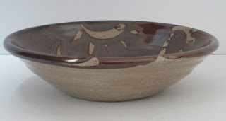 U.K. Studio Potter Michael Hoyland Hand Thrown Bowl Brown Pottery Bowl Flat View