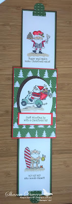 Fancy fold, So Santa, double Slider Card, Rhapsody in craft, Heart of christmas, Christmas card, heart of Christmas