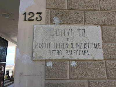 Former board school (convitto) sign on via Pignolo, Bergamo.